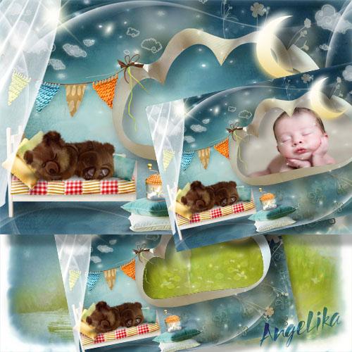 Фоторамка для малышей - Спящий медвежонок