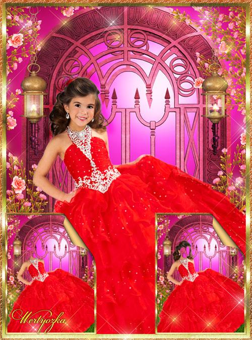 Детские шаблоны - Прекрасное красное платье для маленькой принцессы