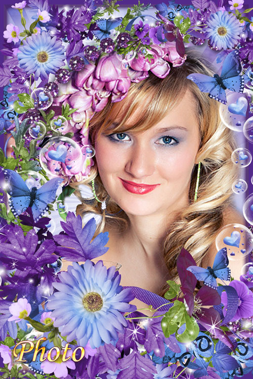 Красивая яркая  рамка для фото - Цветы моей мечты
