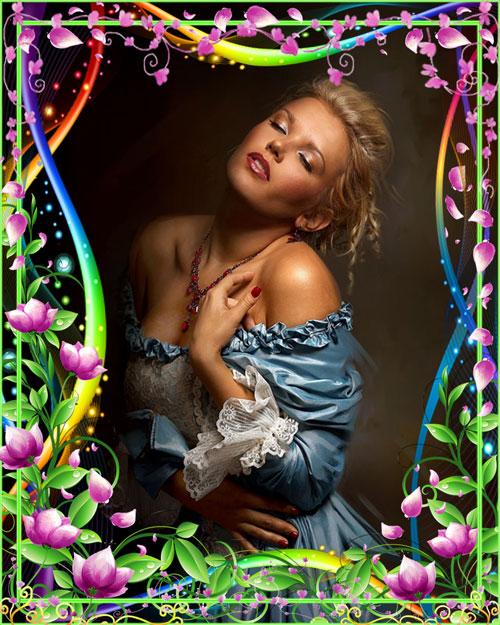 Рамка для фотошопа - Россыпи нежных цветов
