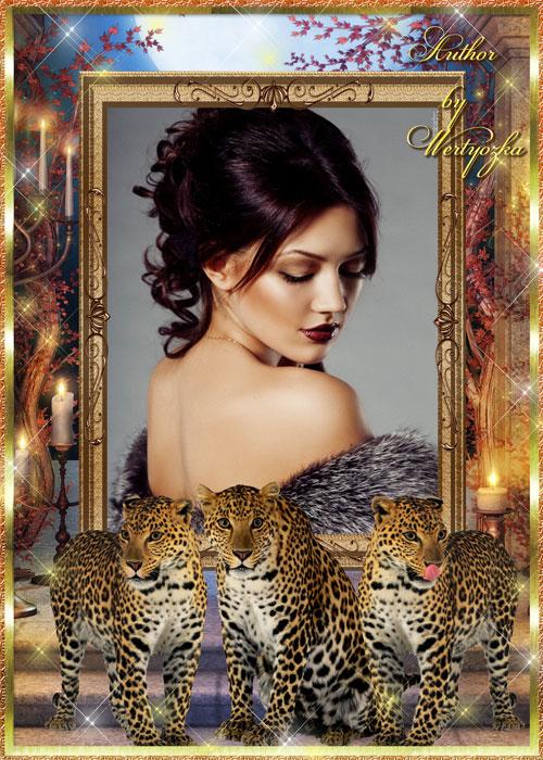 Рамка для фотошопа - Леопарды и магия ночи