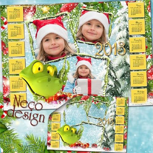 Новогодний календарь коллаж с рамками на три фото - Новогодняя змейка с под ...