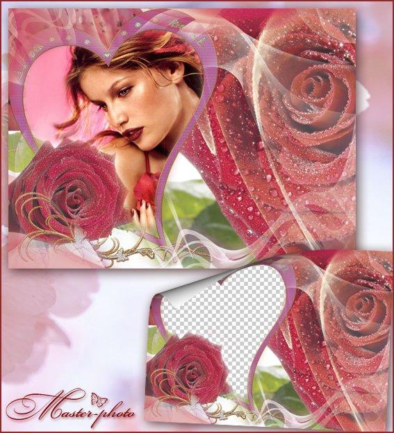 Романтическая цветочная фоторамка - Красные розы
