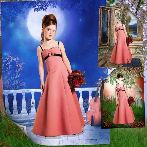 Детский шаблон для девочки в розовом платье с бантиком - Лунная мелодия