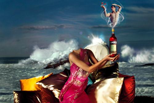 Шаблон psd женский - джин с бутылки