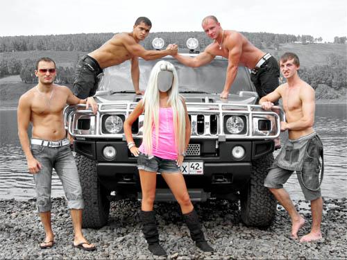 Шаблон psd женский - окружена парнями
