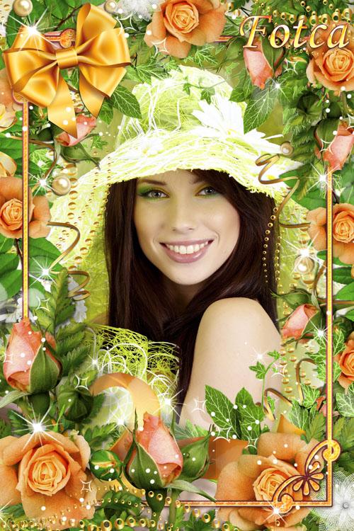 Цветочная рамка для фото - Оранжевые розы