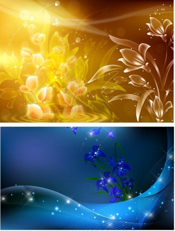 Два изумительных фона - Лилии и Ирисы PSD(многослойные)