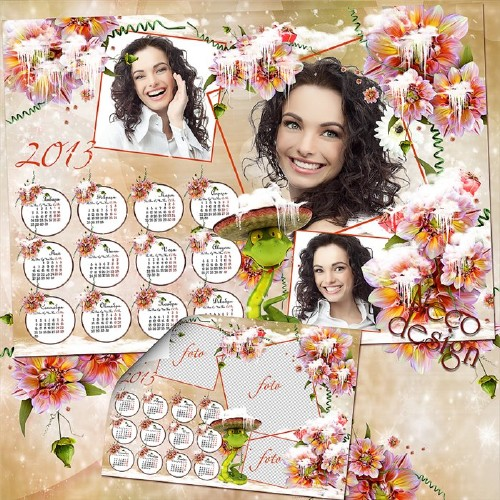 Цветочный женский календарь с тремя рамками для фото и новогодней змеёй
