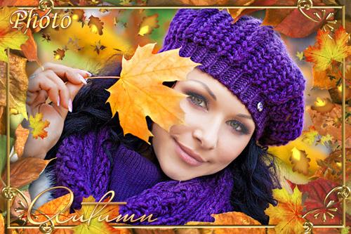 Женский шаблон для фотошоп - Осень