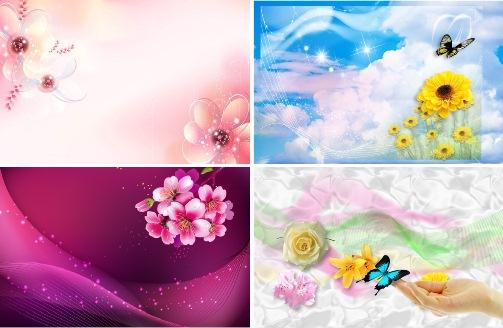 Замечательные РАМКИ-ФОНЫ из Цветов_PSD(многослойные)