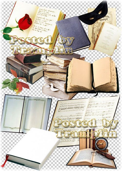 Клипарт на прозрачном фоне – Книги, блокноты, журналы