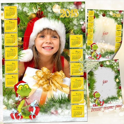 Новогодний красочный календарь рамка на 2013 со змеёй среди наряженных елов ...