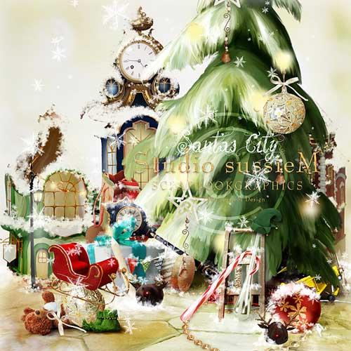 Новогодний скрап набор - Город Деда Мороза