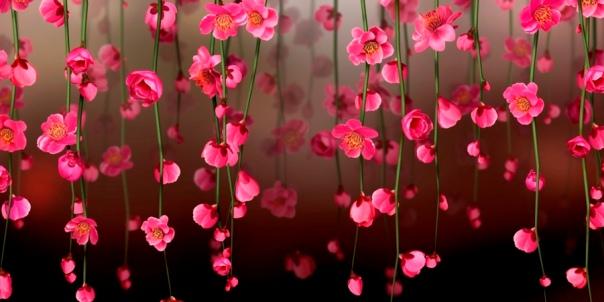 Рамка-Фон - Висячие Цветы__PSD(многослойные)