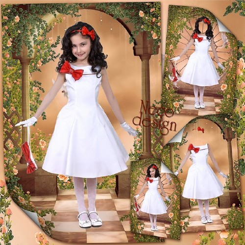 Шаблон для девочки с белым платьем с красной отделкой и красным бантом - Мо ...