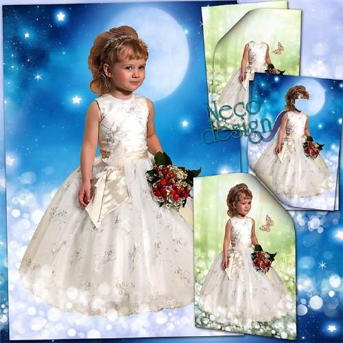 Детский шаблон для маленькой девочки в белом платье с букетом - Среди звёзд