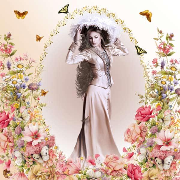 Рамка женская - Ретро открытка
