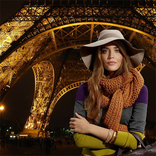 Шаблон женский - Осенний вечер в Париже