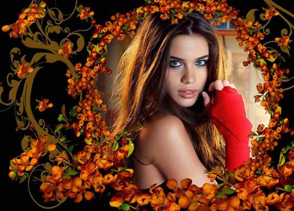 Рамка  женская - Отсвет оранжевых цветов