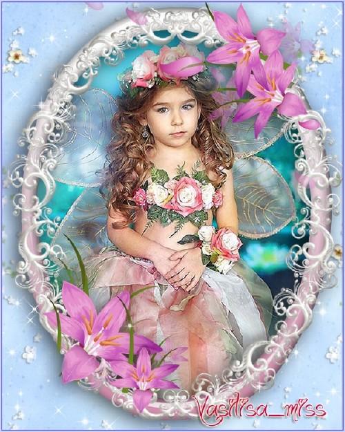 Красивая рамочка для фотошопа с красивым вырезом и розовыми лилиями