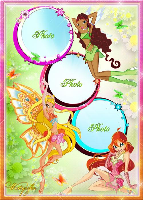 Детская рамка для фото - Удивительные феечки из мультсериала Winx Club