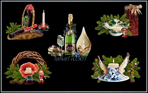 Клипарт - Новогодние композиции со свечами