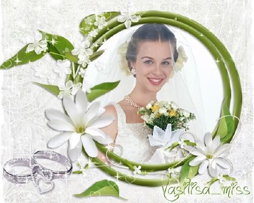 Красивая свадебная рамочка для фотошопа - Великолепие цветов