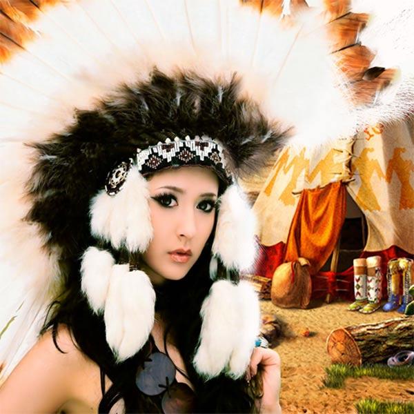 Шаблон женский - Прекрасная индианка