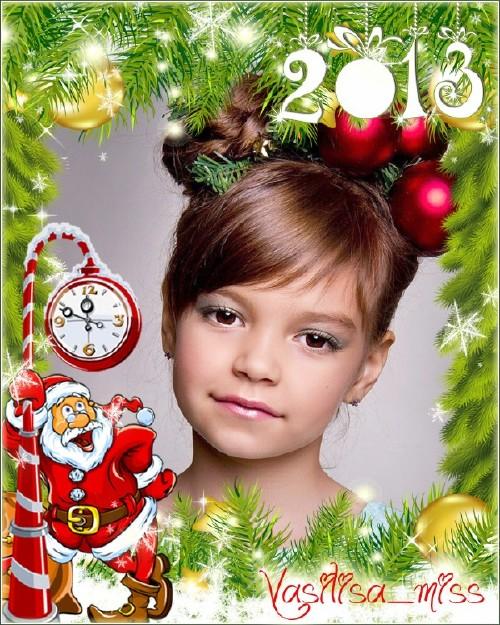 Красивая новогодняя рамочка для фотошопа с ёлочными веточками, игрушками и  ...