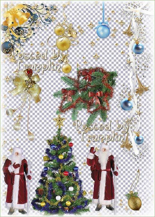 Новогодний клипарт – Ветки хвои, шары, свечи, дед мороз, гирлянды