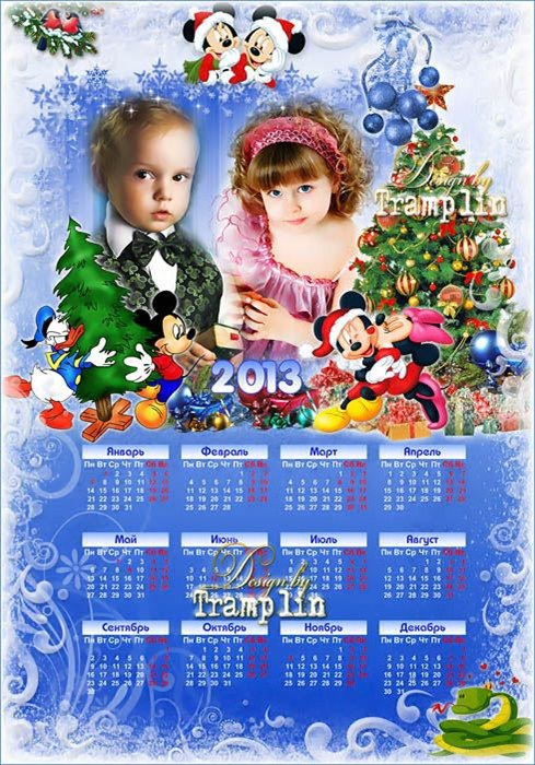 Праздничный новогодний календарь 2013 год с героями мультфильма Микки и Мин ...