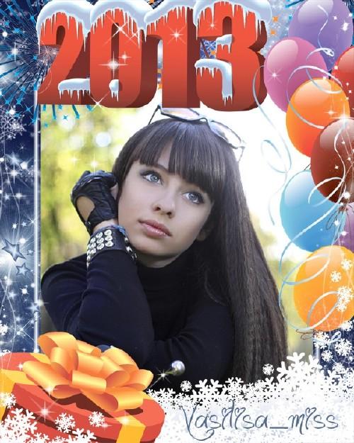 Красивая новогодняя рамочка для фотошопа с воздушными шарами, подарком и сн ...
