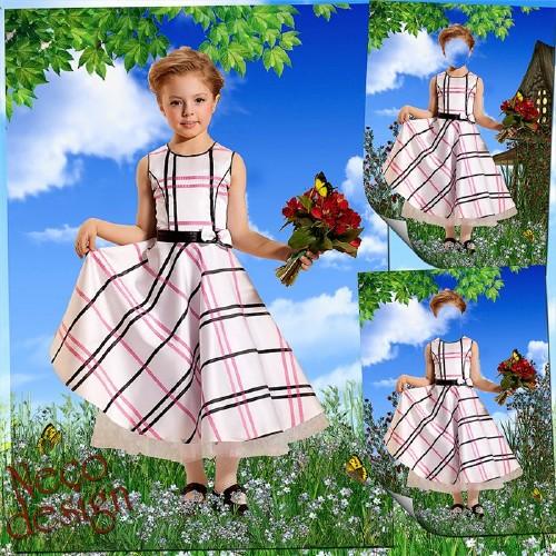Детский шаблон для девочки со светлым платьем - В гости с букетом