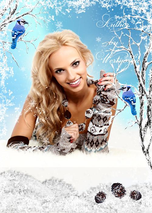 Женский шаблон для фотошопа - Девушка и белоснежная зима