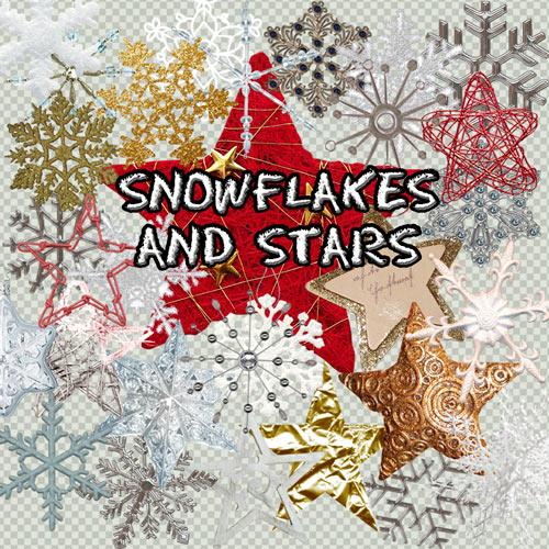 Клипарт на прозрачном фоне - Снежинки и звездочки