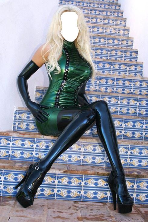 Фотошаблон женский - Блондинка в латексе