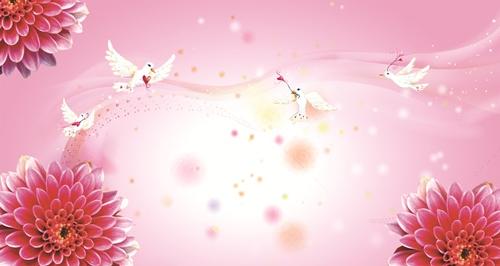 Фон георгины с голубями_PSD (многослойный)