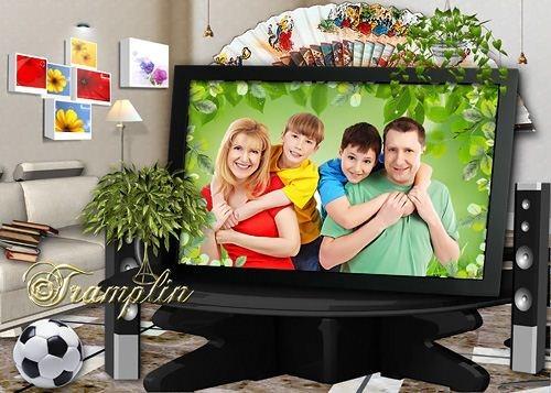 Многослойный Psd исходник  - Моя семья в телепередаче