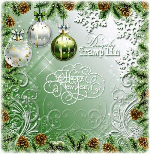 Многослойный Новогодний исходник – Ветки хвои, шишки, завитушки, снег