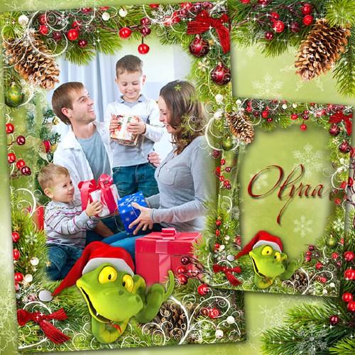 Праздничная рамка для фотошоп - В преддверии Нового года