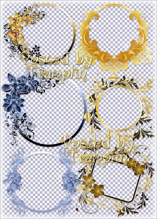 Разноцветные рамки-вырезы с цветочками и завитушками для виньеток