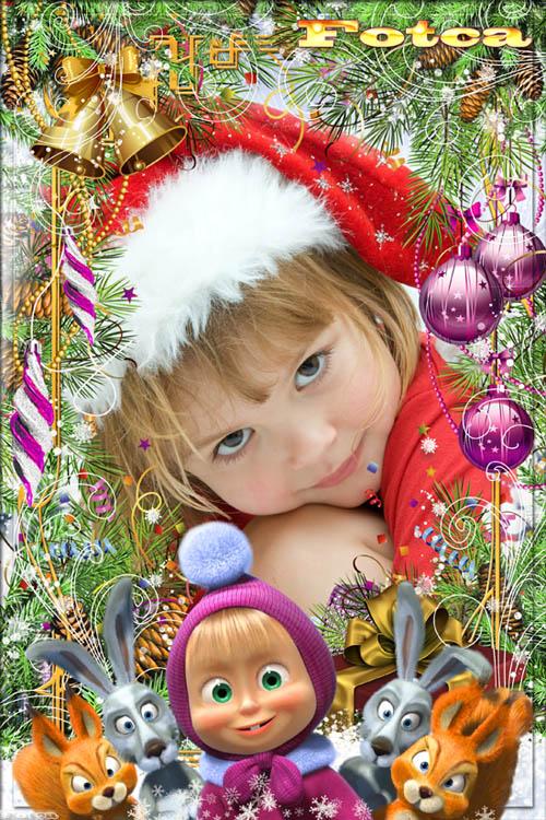 Детская рамка для фото - Новый год с Машей