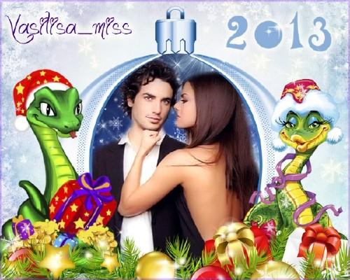 Новогодняя рамка в год змеи 2013 – Счастье быть с любимым рядом