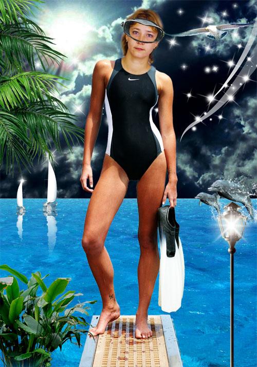 Женский шаблон для фотошопа - Ночная пловчиха
