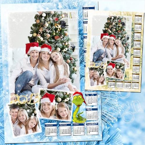 Стильный зимний календарь коллаж  на три фотографии со змеёй