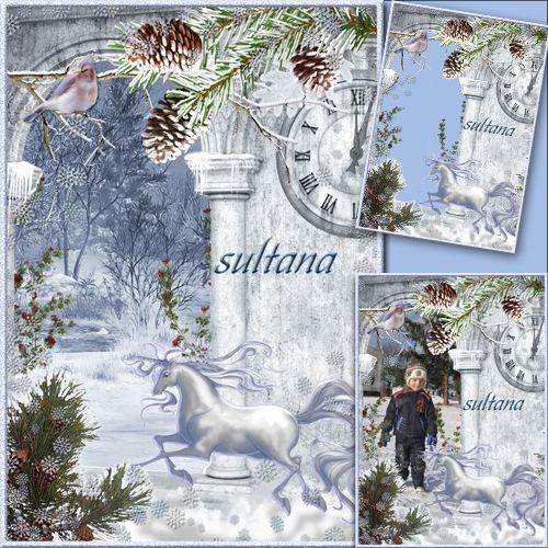 Зимняя рамочка для фото с фоном для создания коллажа - Время зимы