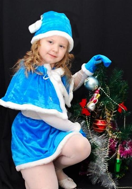 Детский новогодний шаблон для фотошопа - Снегурочка в голубом костюме