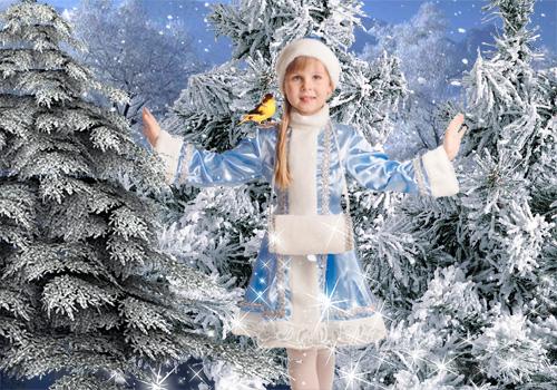 Детский новогодний шаблон для фотошопа - Лесная Снегурочка
