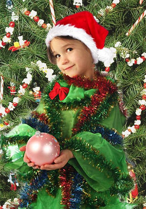 Детский новогодний шаблон для фотошопа - Елочка у елочки